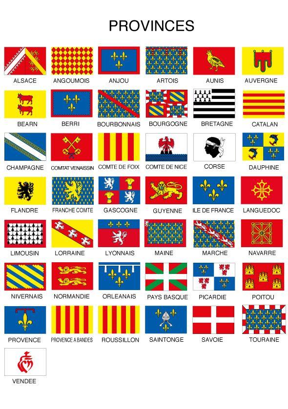 Les drapeaux des provinces de France