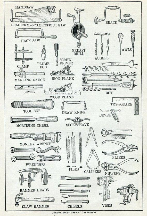 Carpintero herramientas Diccionario Vintage Print - herramientas comunes…