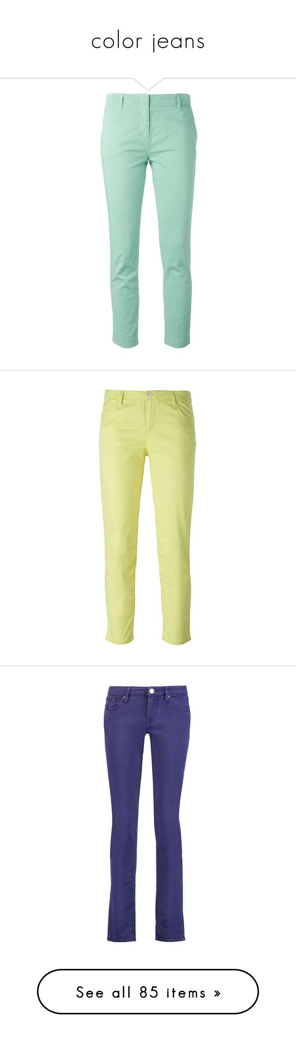 """color jeans"" by osenya ❤ liked on Polyvore featuring pants, green, straight leg trousers, straight leg pants, green pants, aspesi, jeans, beige jeans, armani jeans and beige skinny jeans"