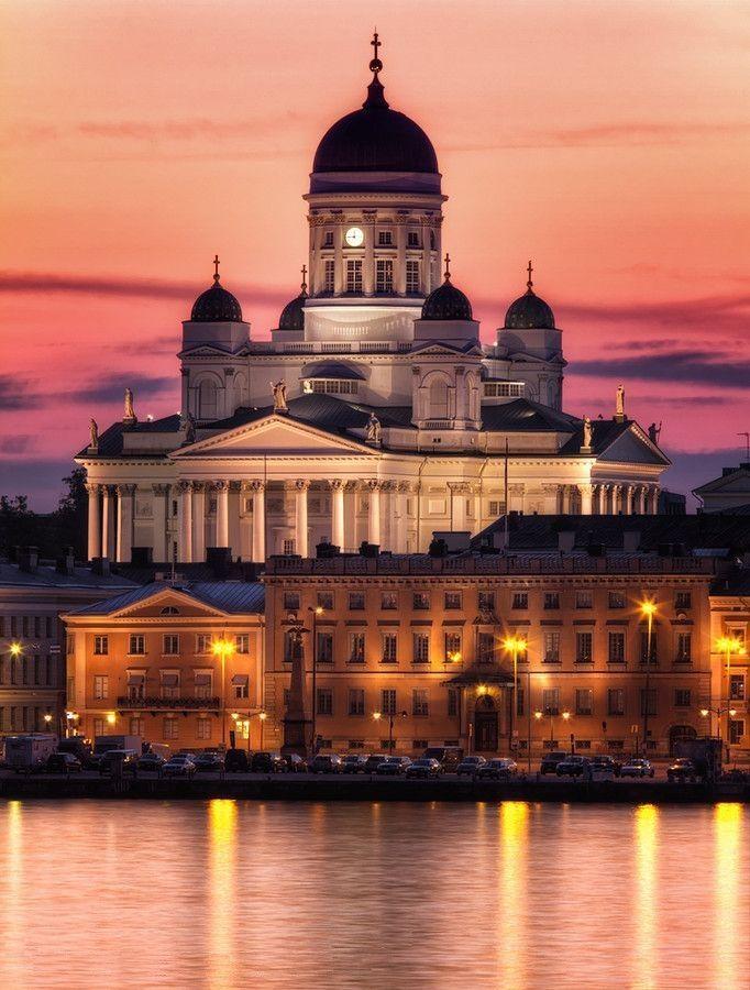 Helsinki, Finland, dome, summer night, midsummer sun