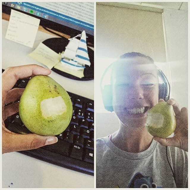 It's important to start the day with a smile  #pear #fruit #selfie #smile #dental #SocialMediaManager #happy #work #fun #like #hubspiders