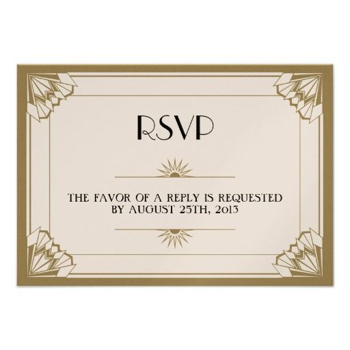 Jazz age taupe Art Deco RSVP wedding response Card | Jazz age, Rsvp and Custom invitations
