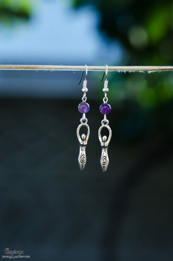 Goddess earrings with amethyst beads  wicca by VictoriaEquinox