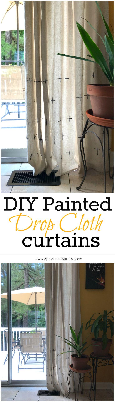 Easy. Kid-Friendly. No-Sew. DIY Painted Drop Cloth Curtains tutorial. http://www.apronsandstilletos.com/2017/05/diy-painted-drop-cloth-curtains.html #WorryFreeMessFree (AD)