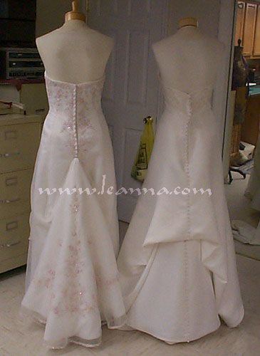 """French-style Pick-up bustle: I like the one on the right. This page states that """"like the French Bustle, it's great if much of the design is high on the train or if there is little or no design like on this gown."""