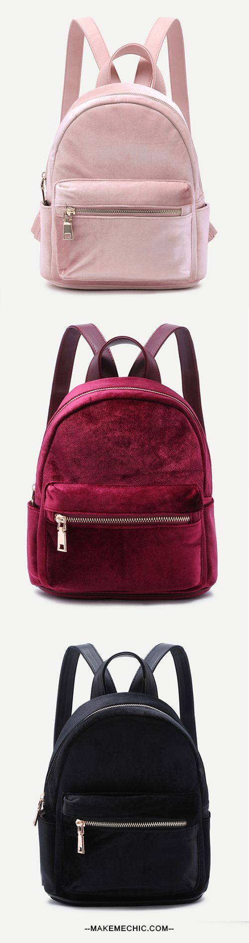 We're seriously crushing on the Mini Metallic Zip Velvet Backpack! Features a velvet upper, metallic zipper, and adjustable straps. One size fits most.
