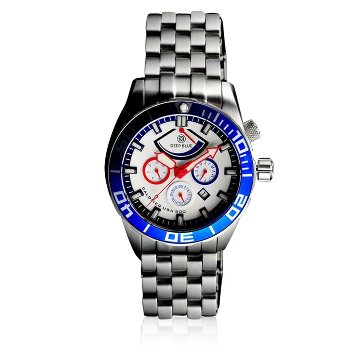 Deep Blue - Cal diver USA 500 - Month, Day, Date, 24 hour + Power reserve, Divers Wet-suit extension, Exhibition case-back Silk Screen USA Flag , Superluminova hour markers hands and Pip , 120 click unidirectional ratchet bezel