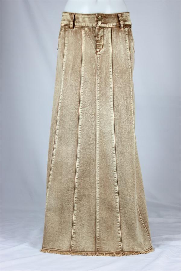 Flawless Beauty Long Khaki Skirt, Sizes 6-16