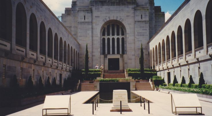 The Australian War Memorial in Canberra consists of three parts: the Commemorative Area (shrine) including the Hall of Memory with the Tomb of the Unknown Australian Soldier, the Memorial's galleries (museum) and Research Centre (records). The Memorial also has an outdoor Sculpture Garden. This is Memorial Courtyard.