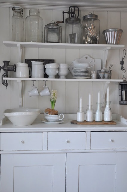 Really lovely, slightly shabby, painted kitchen dresser base with shelves above. LOVELY