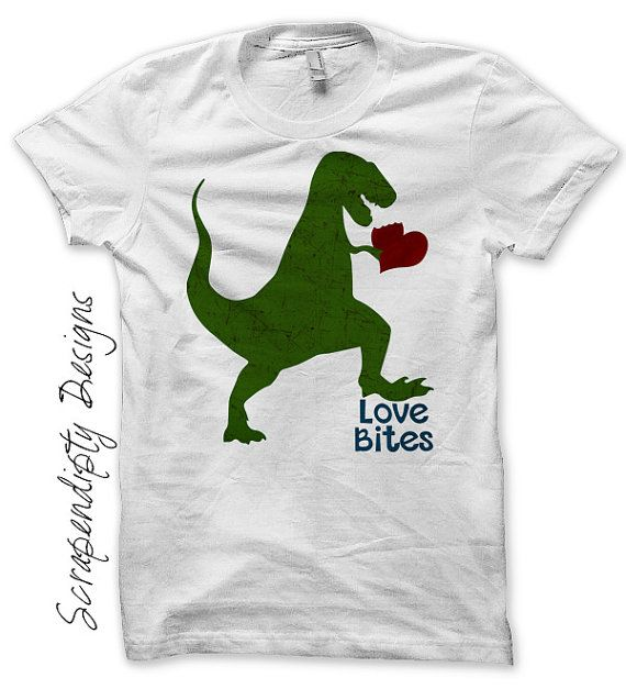 Boys Valentine Iron on Transfer - Iron on Dinosaur Shirt / Loves Bites Funny Shirt / Mens Valentines Day Outfit / Toddler Valentine IT484-P