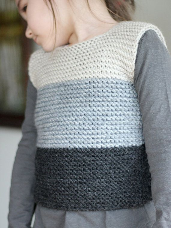 Bebé chaleco tejido a mano ropa para bebé de lana gris de