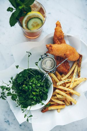 Posh fish and chips, peas and a Pimms :)
