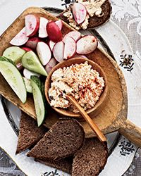 Paprika Cheese Spread Recipe (my version of Körözött, Liptauer or Liptó Cheese).  Recipe by Sarah Copeland for Food & Wine Magazine.