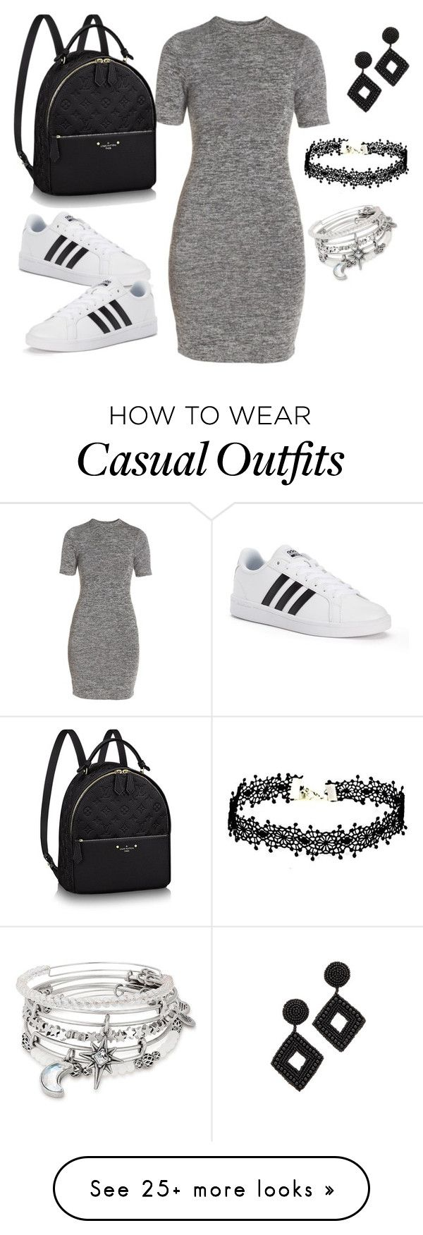 """""""casual hskdl"""" by etsuko96 on Polyvore featuring French Connection, adidas, Alex and Ani and Kenneth Jay Lane"""