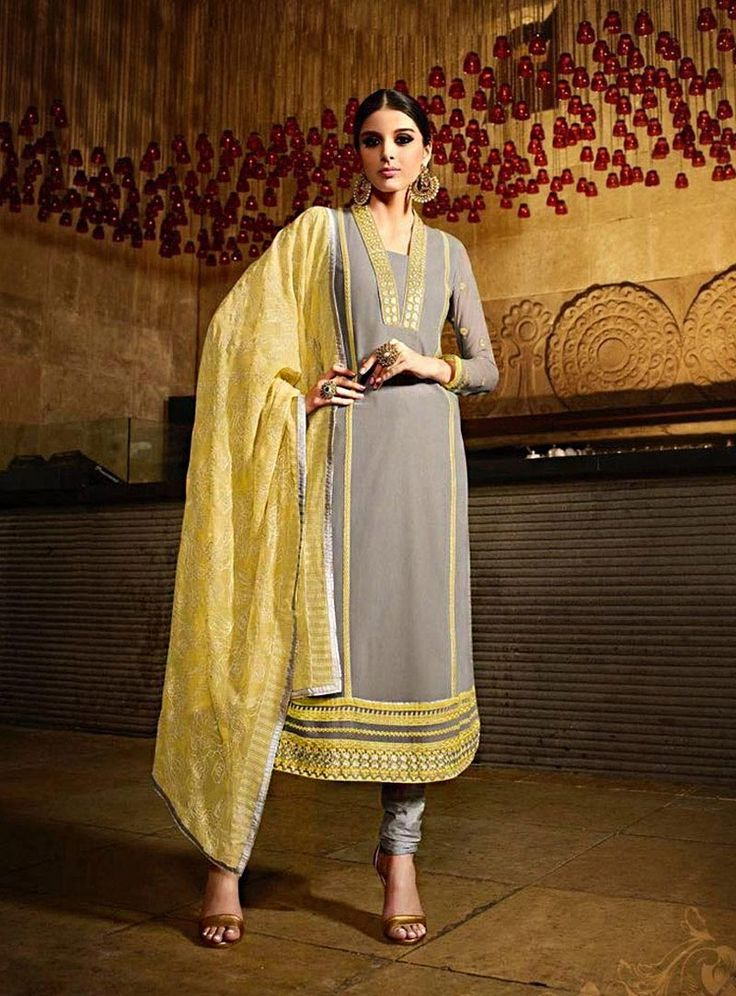 Buy Giselli Monteiro Gray Georgette Churidar Suit 71640 online at lowest price from vast collection at m.indianclothstore.c.