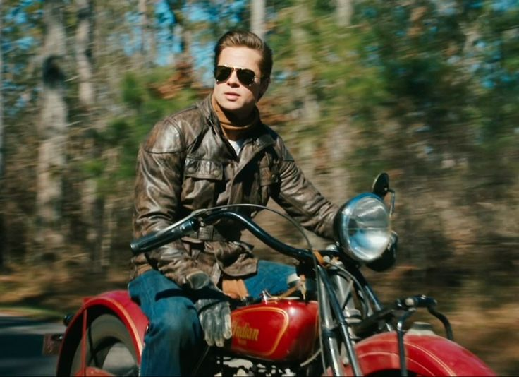 """Brad Pitt on a 1928 Indian Scout from the movie """"The Curious Case of Benjamin Button"""""""