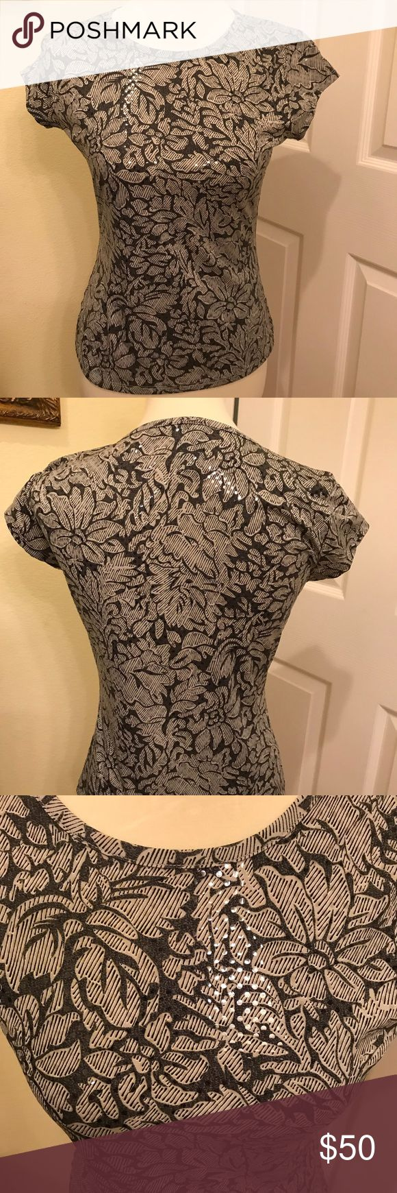 Two tone Gray Top Short Cap sleeve top. Two tone gray with clear sequence, has a sparkle when the light hits. What is shimmering on the pic is the clear sequence INC International Concepts Tops Blouses