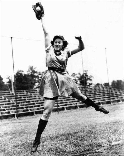 This is Dorothy Kamenshek, a star player in the All-American Girls Professional Baseball League who helped inspire the lead character in the movie A League of Their Own.  Kamenshek played first base for the Rockford (Ill.) Peaches from 1943 to 1951 and again in 1953, and finished among the league's top 10 career batting leaders, with an average of .292. She was named one of the top 100 female athletes of the century by Sports Illustrated, winning batting titles by hitting .316 in 1946 and…