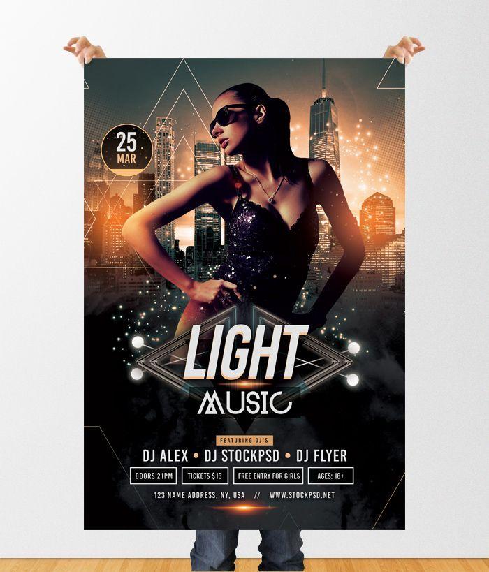 Light Music Download Free Psd Flyer Template Pixelsdesign Free Psd Flyer Templates Free Psd Flyer Psd Flyer Templates