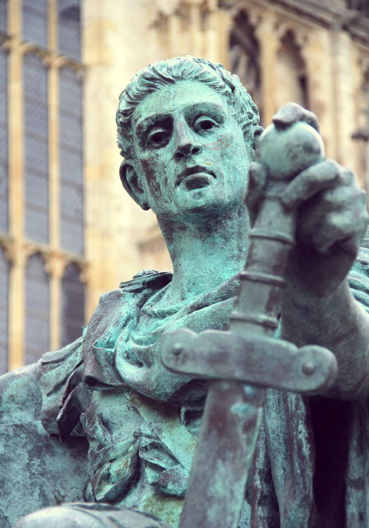 A statue to the Roman Emperor Constantine the Great at the approximate spot in York, England, where he was proclaimed emperor in the year 306. He was the first Christian emperor of Rome.