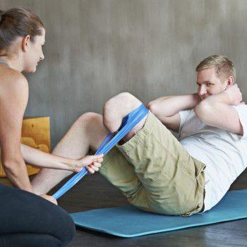 man with amputated leg exercising
