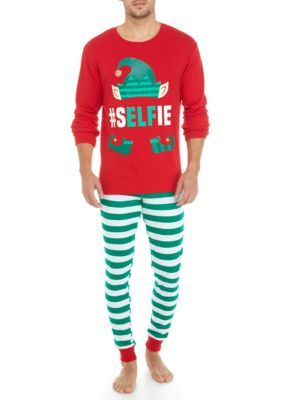 Holiday Cheer Men's Men's 2-Piece Selfie Elf Pajama Set - Red Elf - Xl