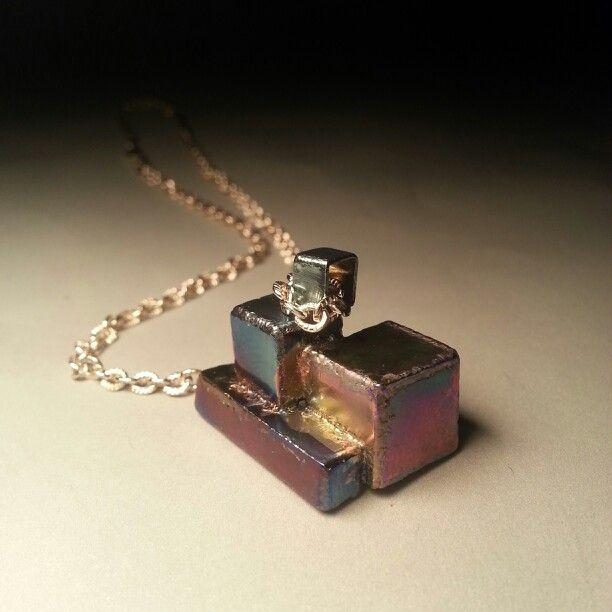 Cubic pendant. Laser welded anodized titanium.