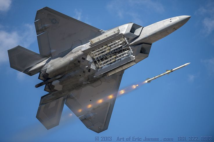 """This is the official copy of my original art work entitled """"Fox Three"""" of an F-22 Raptor firing an Aim-120 AMRAAM Missile. This photo can be pinned for this location: http://artofericjames.tumblr.com/post/101207664610/aviation-photography-one-of-my-favorite-subjects"""