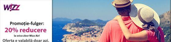 2015 începe cu o promoție-fulger: 20% reducere la orice zbor Wizz Air! Oferta este valabilă doar azi, 9 ianuarie, pentru toate biletele de avion rezervate până la finalul zilei, către orice destinație Wizz Air, în orice perioadă de călătorie.  Tarifele pornesc de la 9 €, către destinații precum Londra, Roma, Paris, Bruxelles, Larnaca, Oslo, Zaragoza, Alghero, Dortmund, Nuremberg, Luqa, Basel, Bologna, Bari, Frankfurt, Budapesta etc.