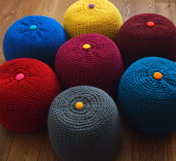 Large Chunky Knitted Pouffe / Footstool From Boo U0026 Kay