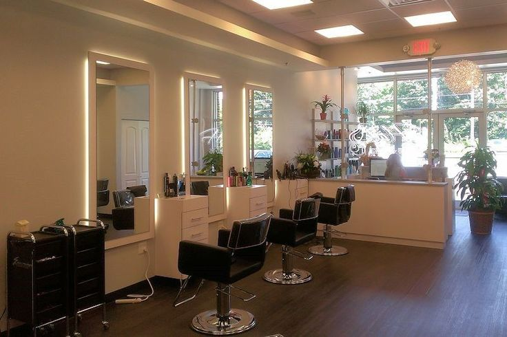Hair by KrisKell Salon - Custom Wall Mounted Lighted Mirror Styling Station & Hydraulic Styling Chairs manufactured by Salon Interiors, Inc.