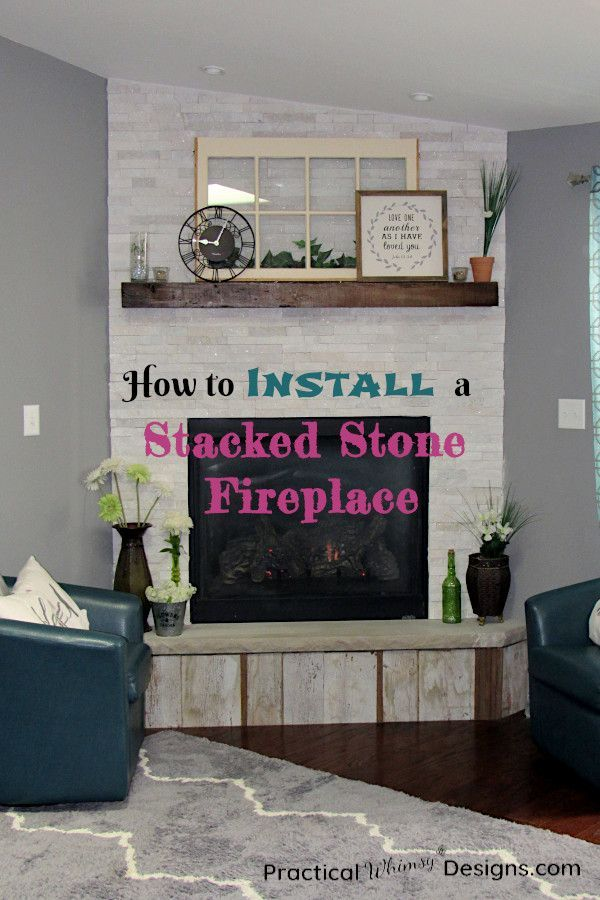 How To Install Stacked Stone Tile On A Fireplace Wall Stacked