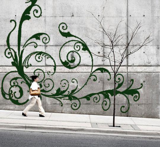 Moss Painting on wallsWall Art, Ideas, Blank Wall, Moss Art, Moss Graffiti, Street Art, Gardens, Moss Wall, Streetart