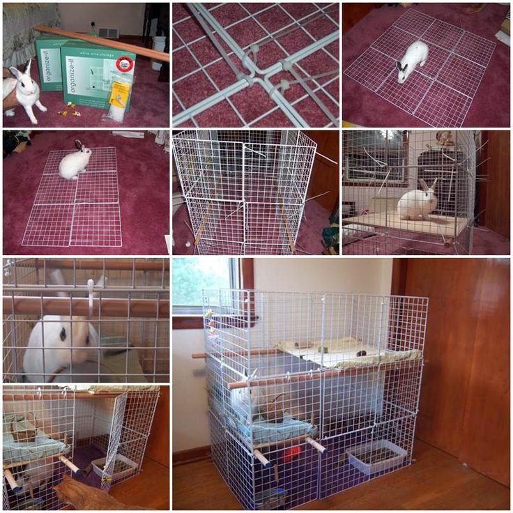 Diy indoor 3 level rabbit condo diy pets projects for Design indoor rabbit cages