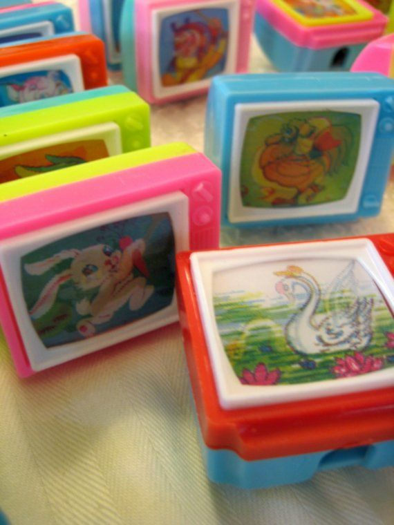 Retro Animal Flicker Picture TV Set Pencil Sharpener by unicornkids on Etsy