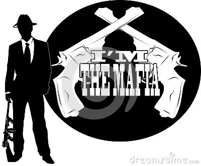 Vector drawing of a mobster, with mafia logo.