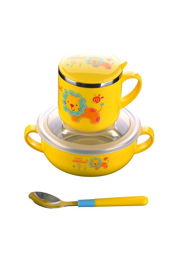Barato 3 pcs Jogo de Jantar De Aço Inoxidável Crianças Animal Bonito Design Pratos Tigela Beber Colher Caneca…