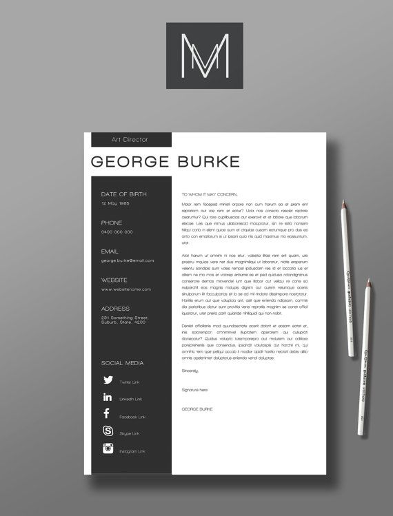 Professional resume template and cover letter by StudioMTemplates