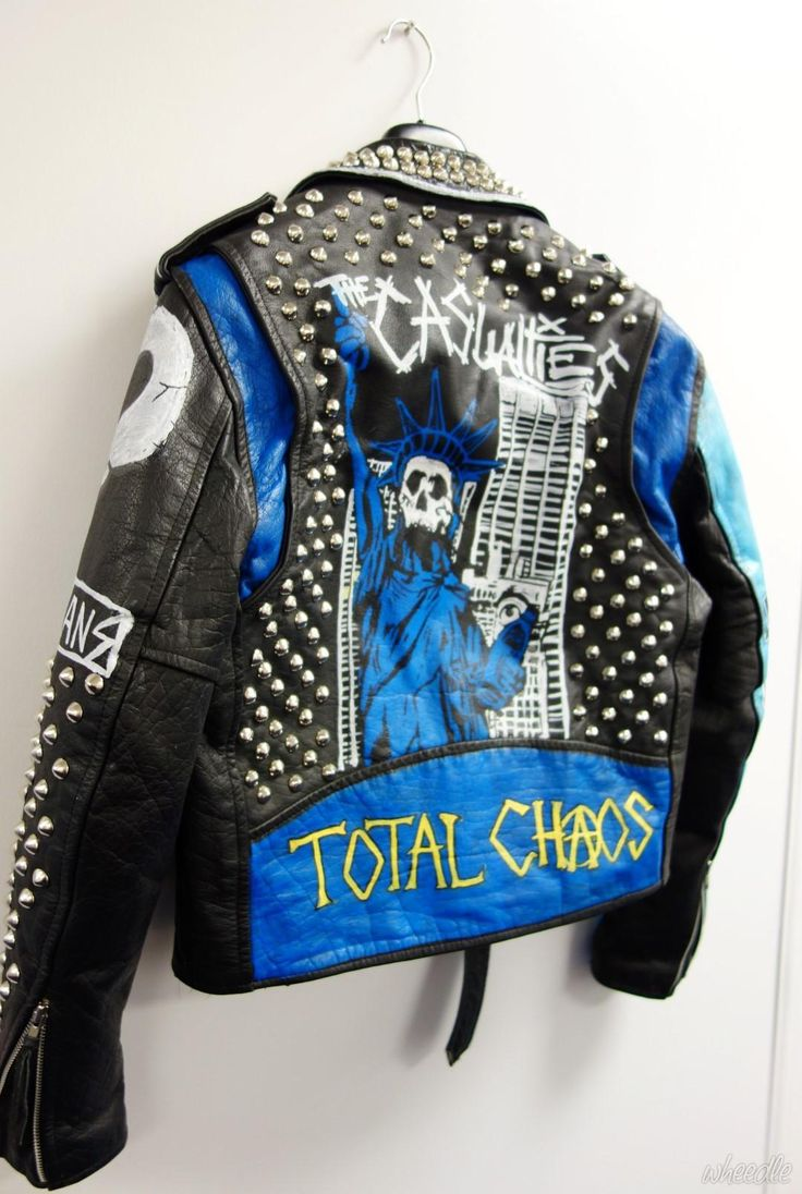 Punk Studded Leather Jacket Original Hand Painted One Off