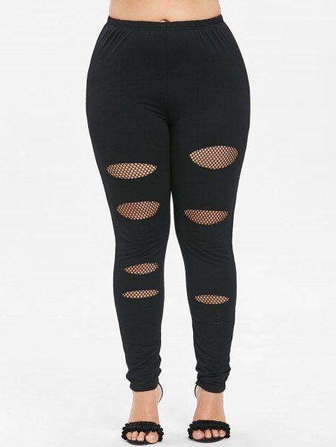 390904ca0 Plus Size Fishnet Ripped Leggings - BLACK L