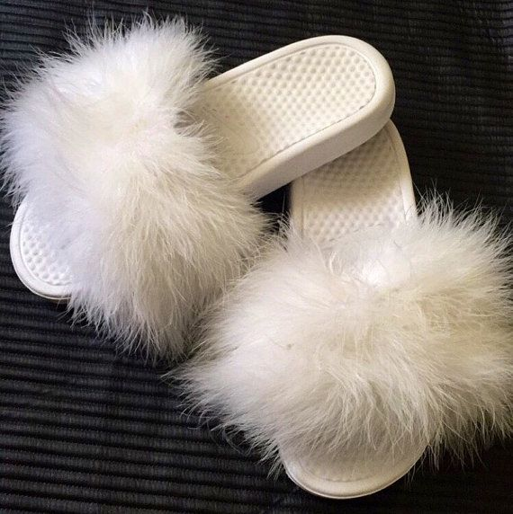 Faux Fur Nike Slippers WHITE - Faux Fur Slides - Sandals - Nike - Slides