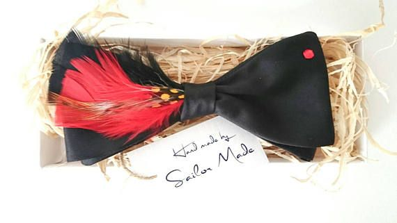 Check out this item in my Etsy shop https://www.etsy.com/listing/512147504/feather-bow-tie-red-and-black-bow-tie