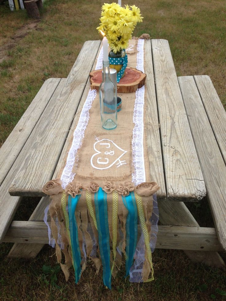 My Turquoise Amp Yellow Wedding Picnic Tables Burlap