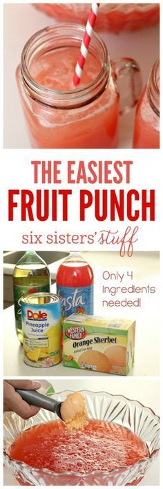 The Easiest Fruit Party Punch on SixSistersStuff.com   This party punch tastes delicious and comes together in a matter of minutes!