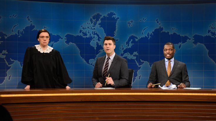 81-year-old Supreme Court Justice Ruth Bader Ginsburg (Kate McKinnon) stops by to say she may be the oldest justice on the bench but she's not the closest to death. [Season 40, 2015]