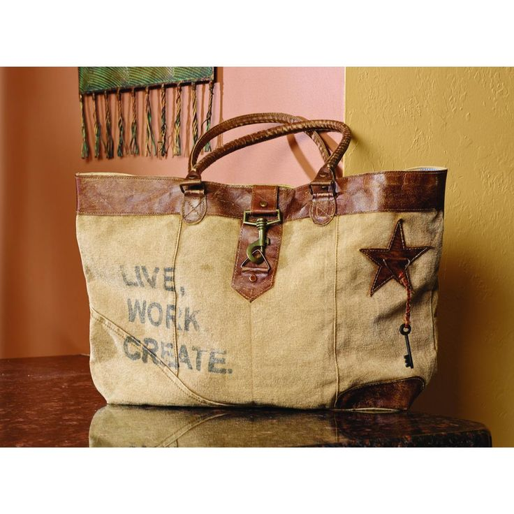 """Bought It!!!  Country Village Shoppe - """"Live, Work, Create"""" Wide Canvas Bag 19x12x4(http://www.countryvillageshoppe.com/live-work-create-canvas-bag-purse-19x12x4/)"""