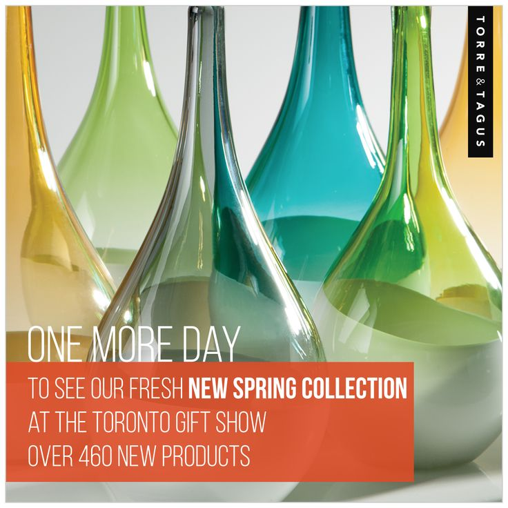 One more day to see us @Toronto Gift Fair. Don't miss this chance to see our fresh new spring collection. Hall H (11) Booth 11613 & 11621 #TorreAndTagus #TorontoGiftFair #TradeShow www.torretagus.com