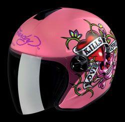 My gorgeous pink Ed Hardy motorbike helmet.