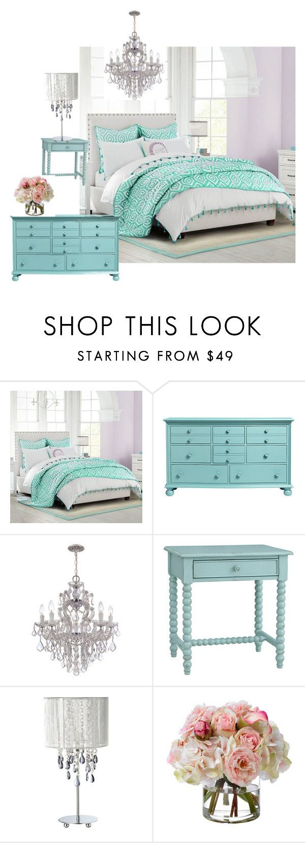 """McDonald Tween Bedroom"" by tmarrah on Polyvore featuring interior, interiors, interior design, home, home decor, interior decorating, PBteen, Redford House, Diane James and bedroom"
